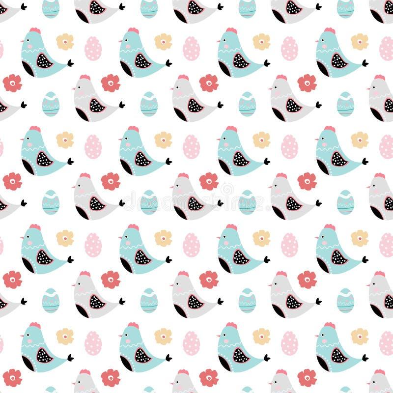 Bezszwowy wektoru wzór z ślicznymi kurczakami, jajkami i kwiatami, Wielkanocny projekt ilustracji