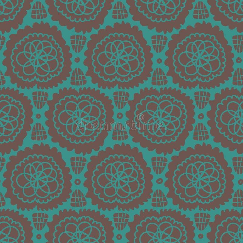 Bezszwowy wektoru wzór z abstrakcjonistycznymi koronkowymi kształtami w cyraneczce i brązie ilustracji