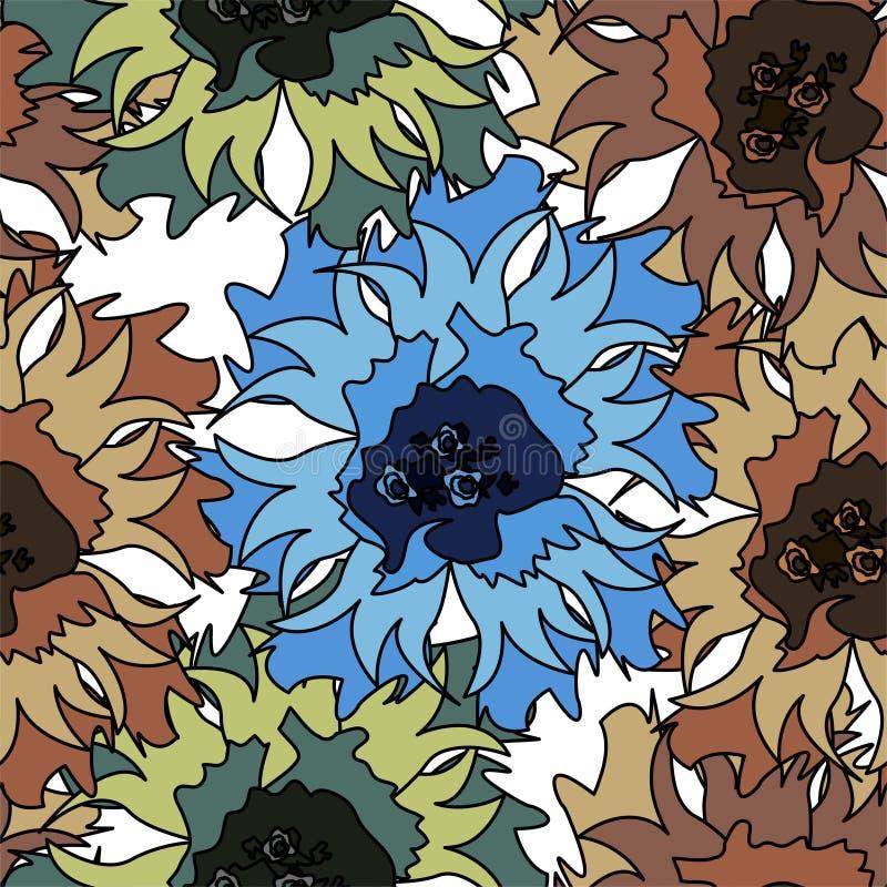 Bezszwowy wektoru wzór z abstrakcjonistycznymi kwiatami tło rysująca kwiecista ręka royalty ilustracja