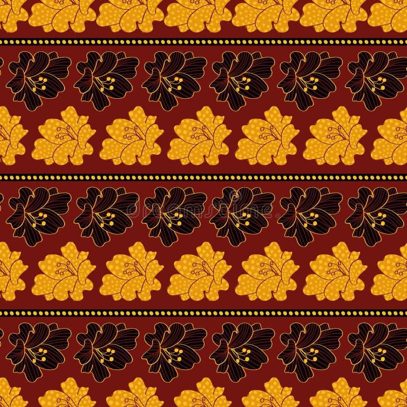 Bezszwowy wektoru wzór z czarnymi i złocistymi lelujami na mahoniowym tle royalty ilustracja