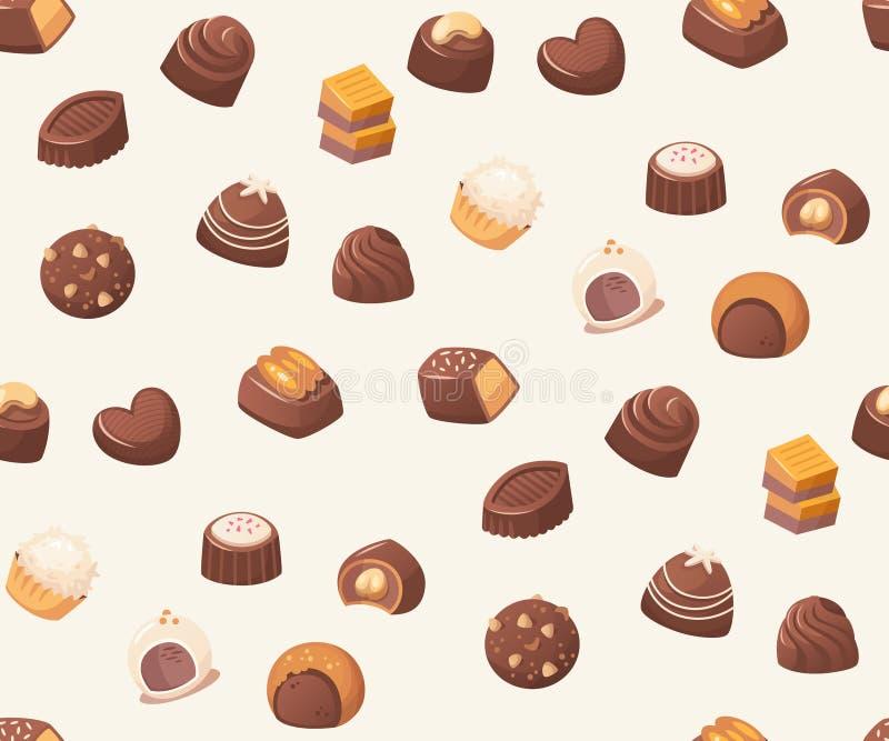 Bezszwowy wektoru wzór z czekoladowymi cukierkami na białym tle royalty ilustracja
