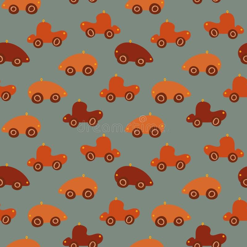 Bezszwowy wektoru wzór z czerwieni i pomarańcze zabawkarskimi samochodami ilustracja wektor