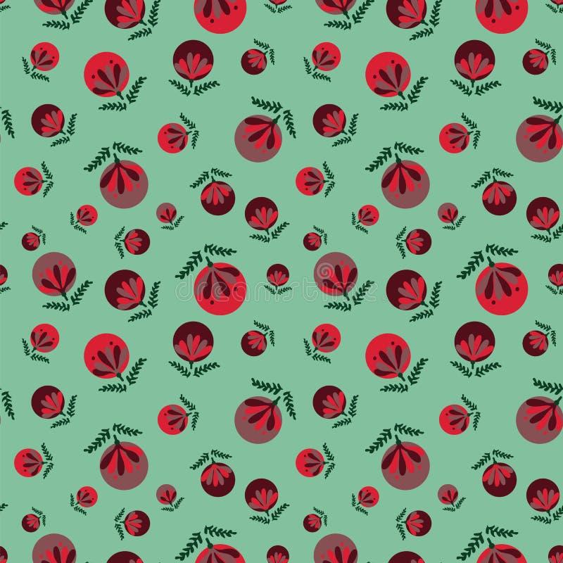 Bezszwowy wektoru wzór z czerwonymi bożych narodzeń baubles na zielonym tle ilustracji