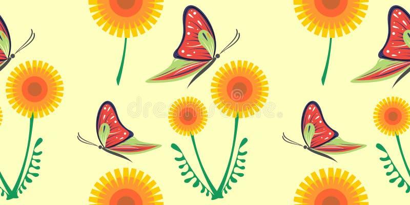 Bezszwowy wektoru wzór z dandelions, motyle Grafika rysująca ilustracja Kwiecisty dekoracyjny tło z ślicznym insektem T ilustracji