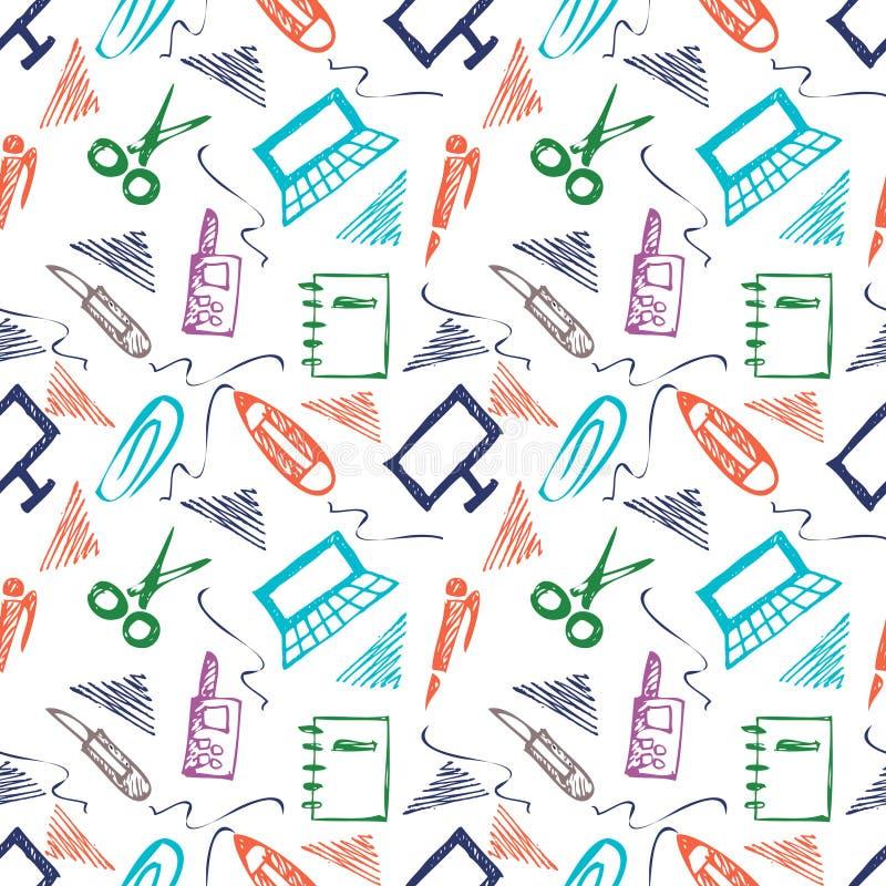 Bezszwowy wektoru wzór z elementami biurowe dostawy Kolorowy tło z nożycami, notatnik, laptop, komputer osobisty, pióro, ołówek,  ilustracja wektor