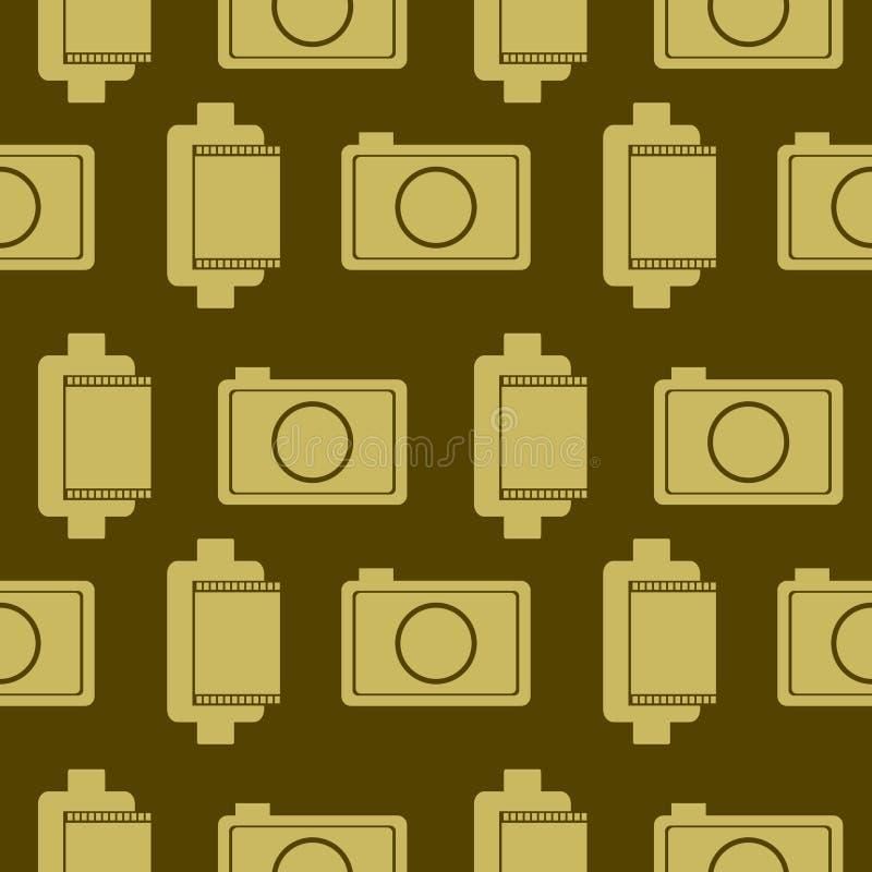 Bezszwowy wektoru wzór z elementami retro kamery i film royalty ilustracja