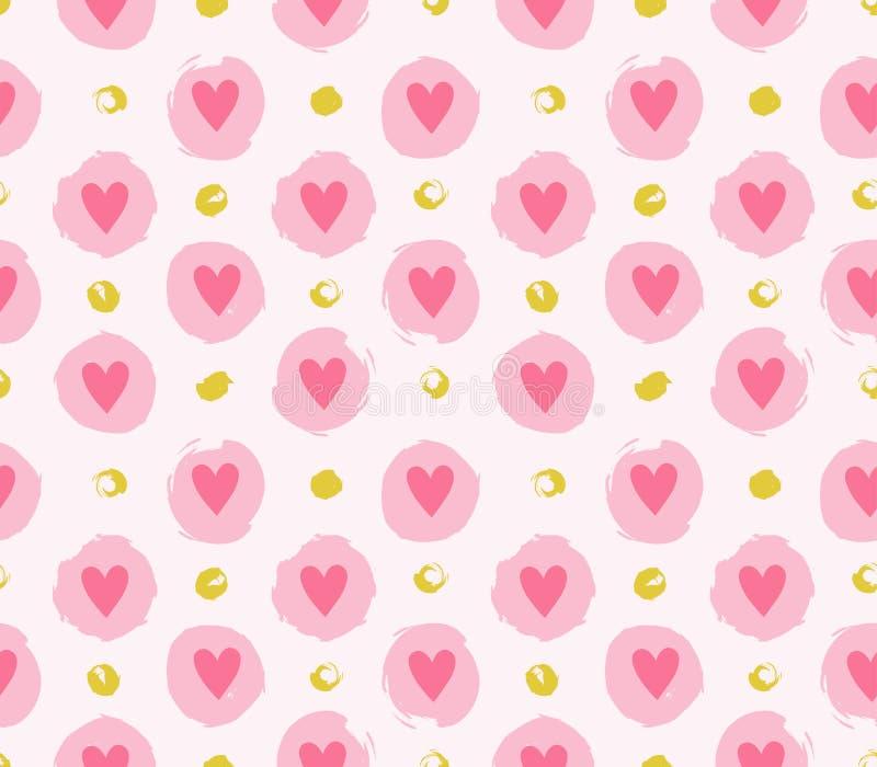 Bezszwowy wektoru wzór z grunge kropkami i sercami tła dzień miłości s valentine royalty ilustracja