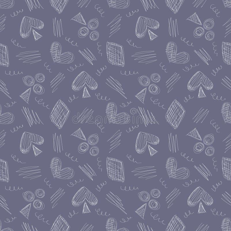 Bezszwowy wektoru wzór z ikonami karta do gry i skrobanina na błękitnym tle ilustracja wektor