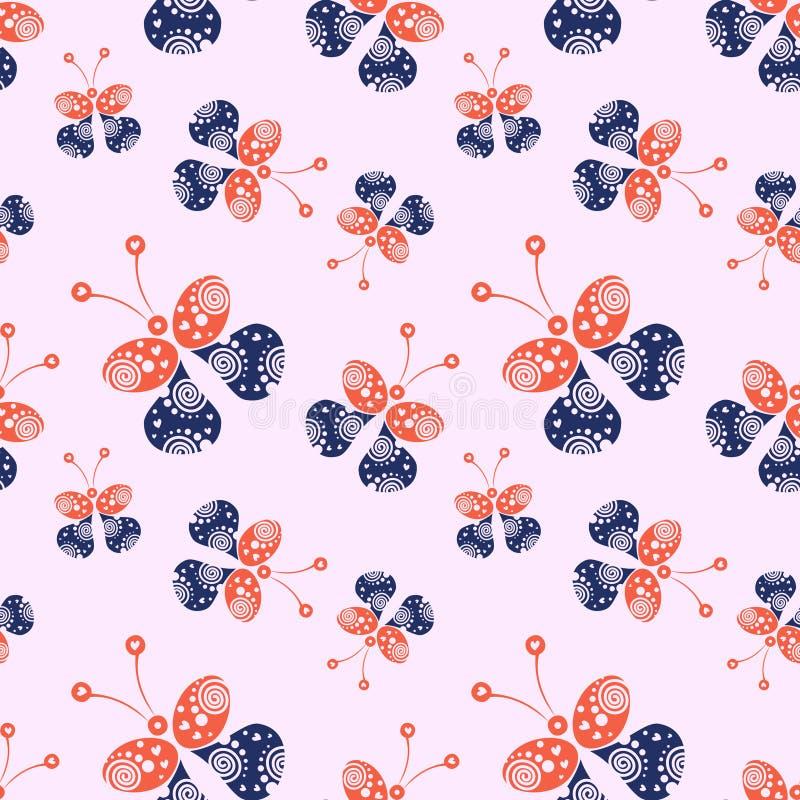 Bezszwowy wektoru wzór z insektami, tło z czerwonymi i błękitnymi dekoracyjnymi ornamentacyjnymi pięknymi motylami ilustracji