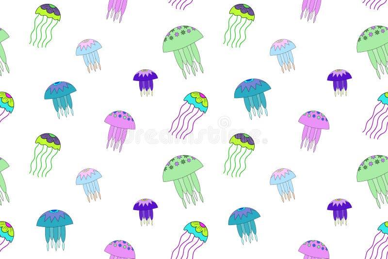 Bezszwowy wektoru wzór z jellyfish ilustracją Biały tło, neonowy, zielenieje, różowi, błękitny royalty ilustracja