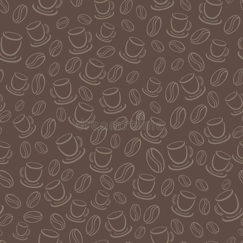 Bezszwowy wektoru wzór z kawowymi fasolami i filiżankami ilustracji