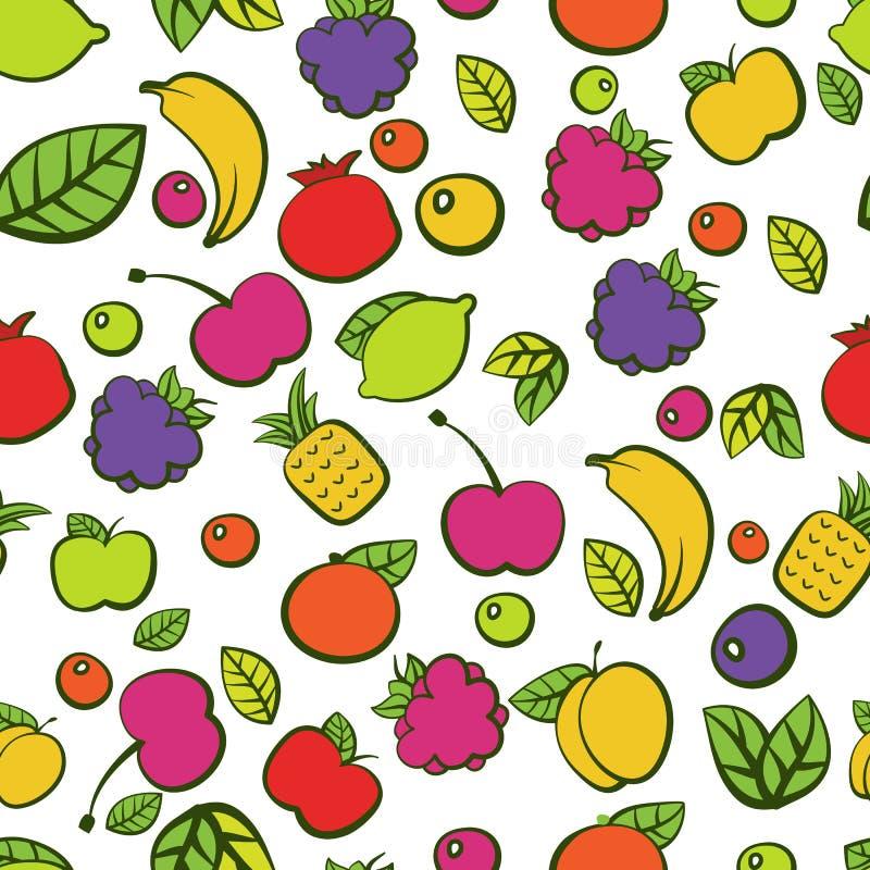 Bezszwowy wektoru wzór z kolorowego doodle soczystymi owoc royalty ilustracja