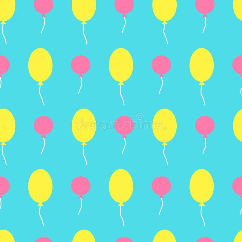 Bezszwowy wektoru wzór z kolorowymi balonami w niebie Dla ca ilustracja wektor