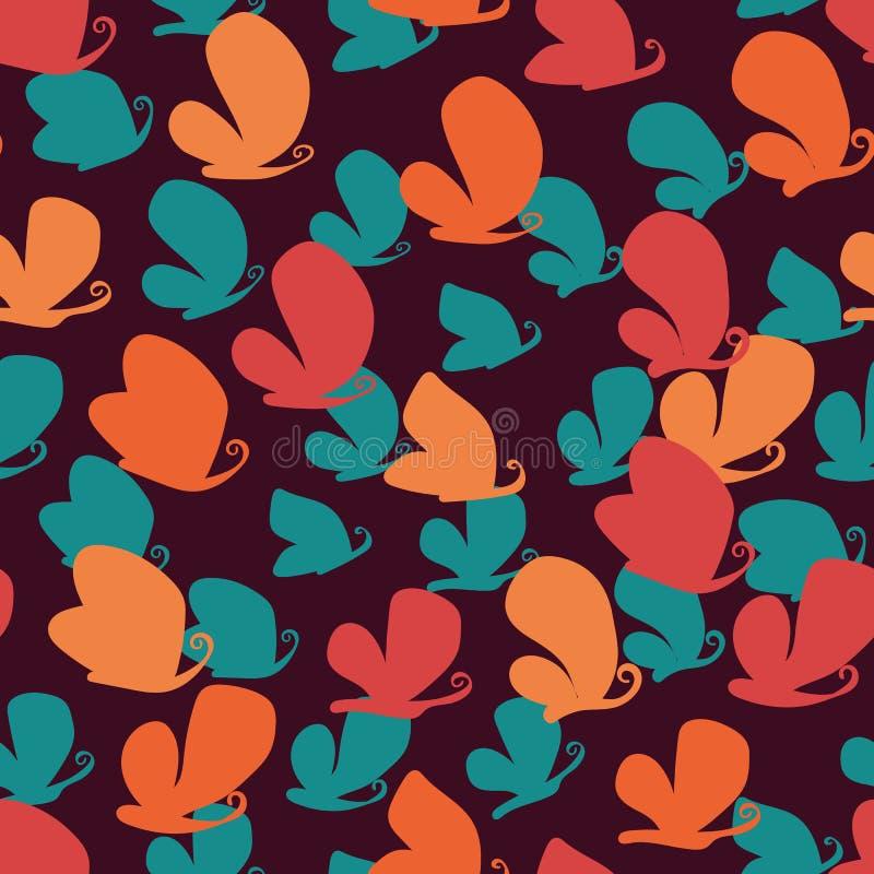 Bezszwowy wektoru wzór z kolorowymi motyl sylwetkami na ciemnym tle ilustracja wektor
