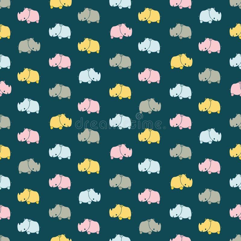 Bezszwowy wektoru wzór z kolorowymi nosorożec na ciemnym tle royalty ilustracja