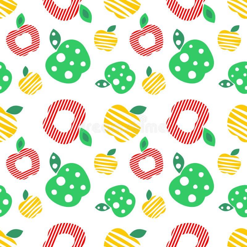 Bezszwowy wektoru wzór z kolorowymi ornamentacyjnymi różnymi jabłkami na białym tle Wielostrzałowy ornament ilustracji