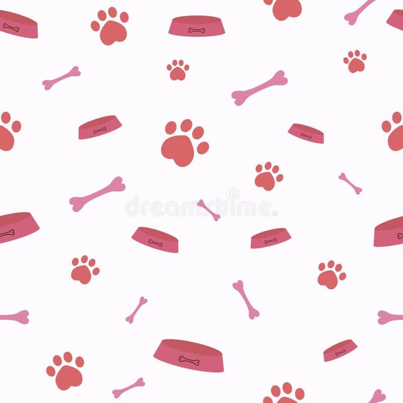 Bezszwowy wektoru wzór z kreskówek kościami, puchary, pies i kot łapy, royalty ilustracja
