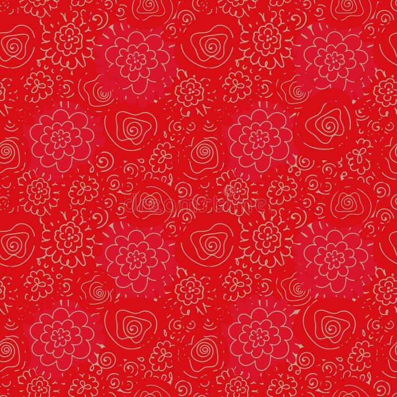 Bezszwowy wektoru wzór z kwiatu doodle na czerwonym tle royalty ilustracja