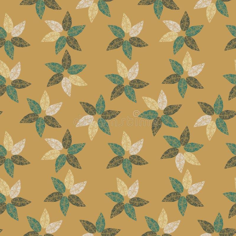 Bezszwowy wektoru wzór z liśćmi tworzy pinwheel kształtuje royalty ilustracja