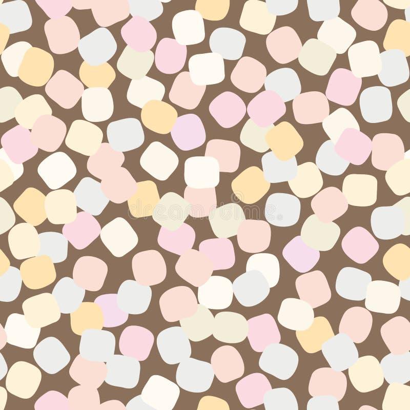 Bezszwowy wektoru wzór z pastelem barwił marshmallows rozpraszających na brązu tle ilustracji