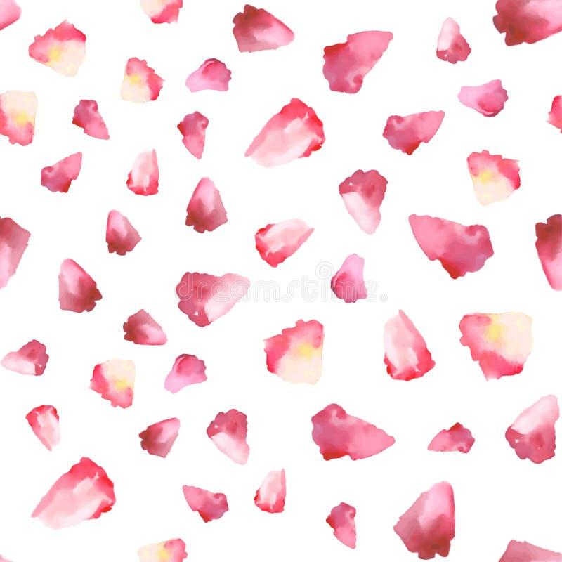 Bezszwowy wektoru wzór z ręki akwareli kwiatu rysunkowymi płatkami ilustracja wektor