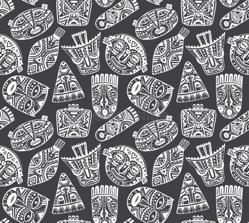 Bezszwowy wektoru wzór z ręki rysować fantazj maskami w afrykaninie s ilustracja wektor