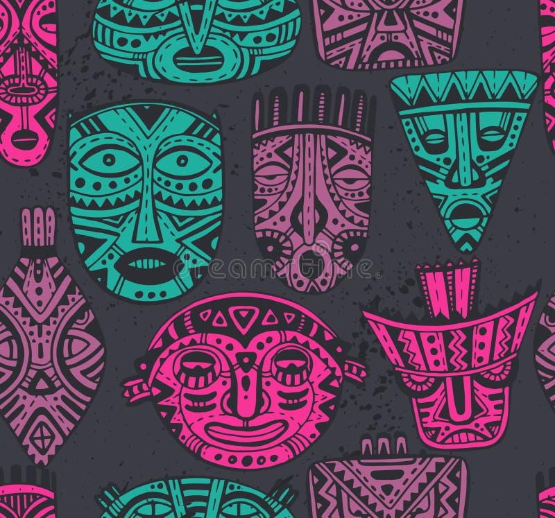 Bezszwowy wektoru wzór z ręki rysować fantazj maskami w afrykaninie s