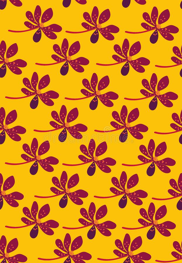 Bezszwowy wektoru wzór z rzędami purpurowi tropikalni kwiaty na żółtym tle ilustracji