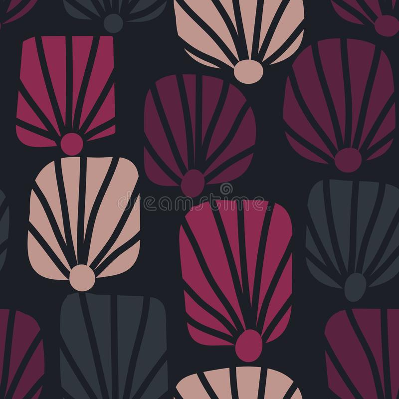 Bezszwowy wektoru wzór z skorupa kształtów dimple stylizował menchia kwiatu motywy ilustracji