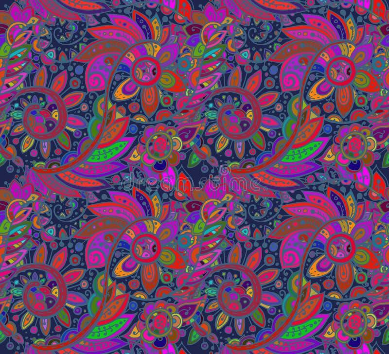 Bezszwowy wektoru wzór z tradycyjnymi orientalnymi kolorowymi florami ilustracja wektor