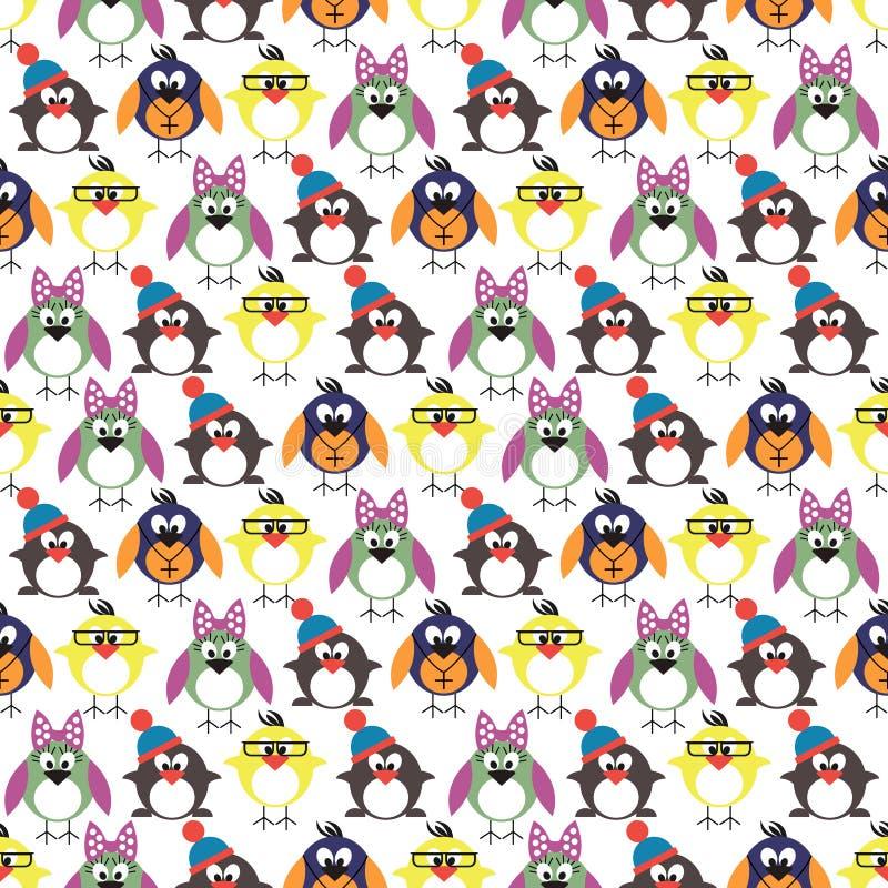 Bezszwowy wektoru wzór z zwierzętami, śliczny tło z ptakami, pingwiny i kurczątka, royalty ilustracja
