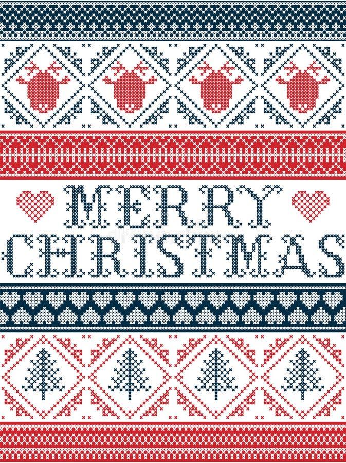 Bezszwowy Wesoło bożych narodzeń tkaniny Skandynawski styl, inspirowany Norweskimi bożymi narodzeniami, świąteczny zima wzór w pr ilustracja wektor