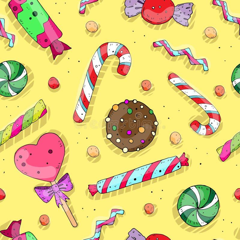 Bezszwowy wielostrzałowy wakacje wzór z ślicznymi barwionymi cukierkami wektor royalty ilustracja