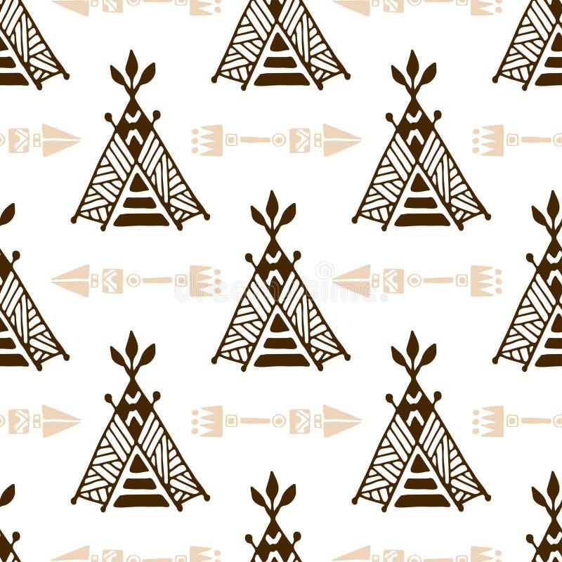 Bezszwowy wigwamu wzór z strzała Pociągany ręcznie indyjski tło wektor Rodowitego Amerykanina namiotu wzór ilustracji