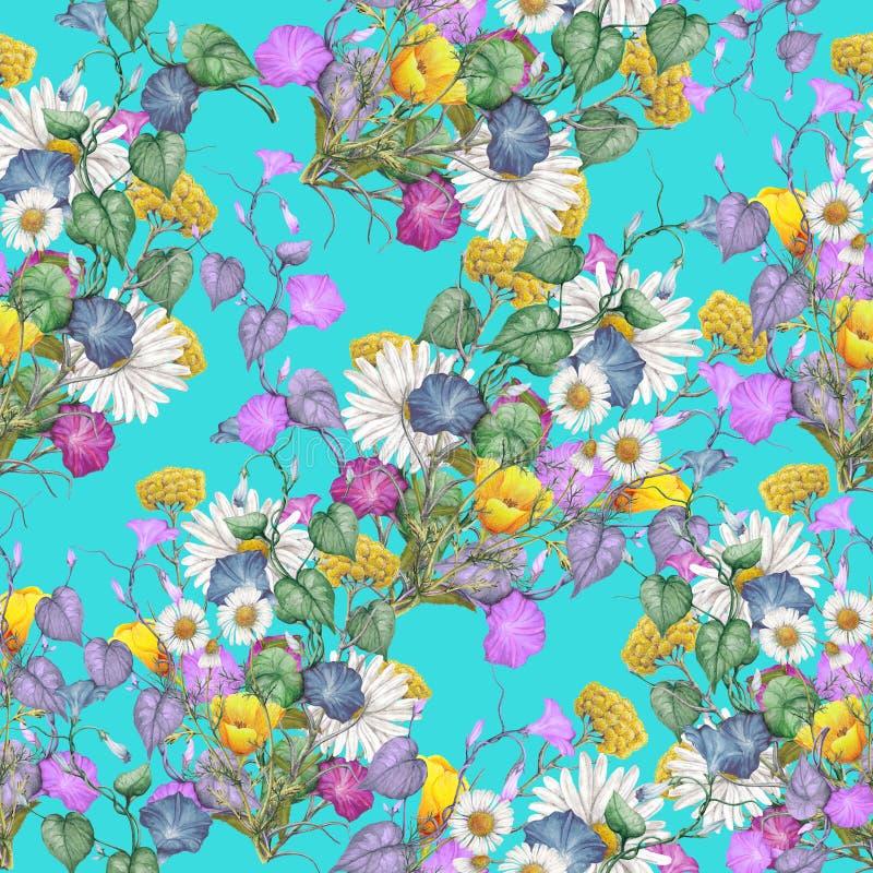 Bezszwowy wildflowers wzór royalty ilustracja