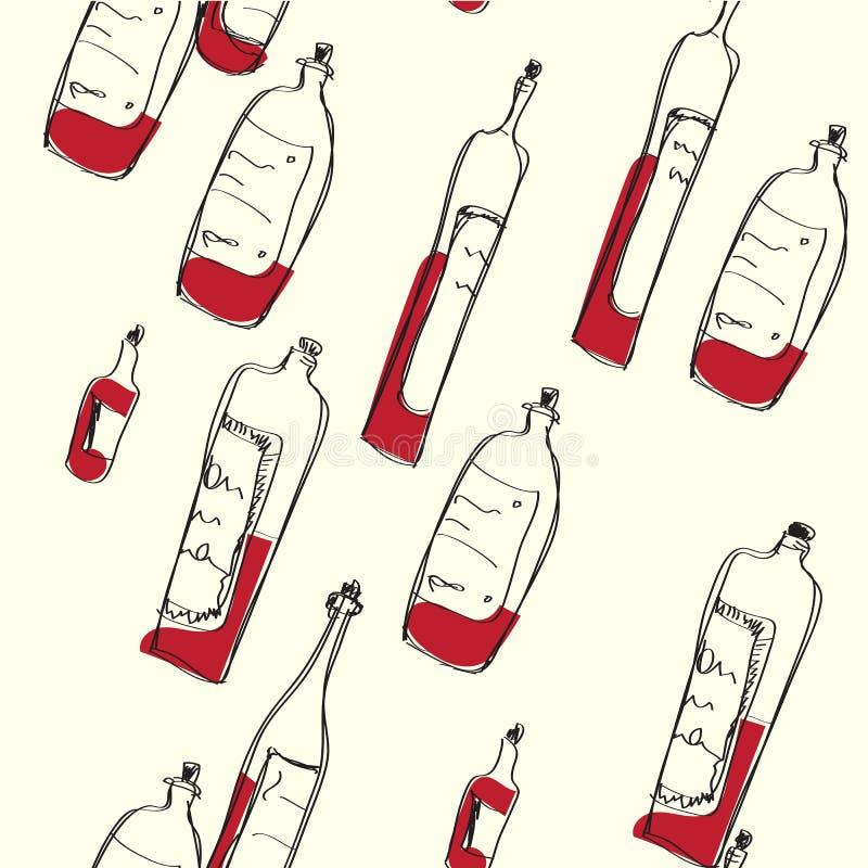 Bezszwowy wino butelek wzór ilustracji