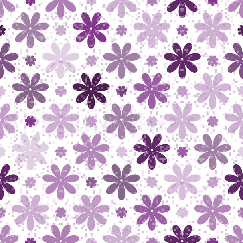 Bezszwowy wiosna wzór z pojedynczymi purpurowymi kwiatami royalty ilustracja