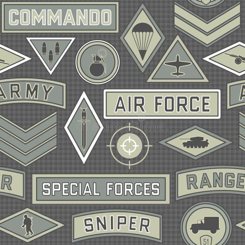 Bezszwowy wojskowego wzór 09 ilustracja wektor