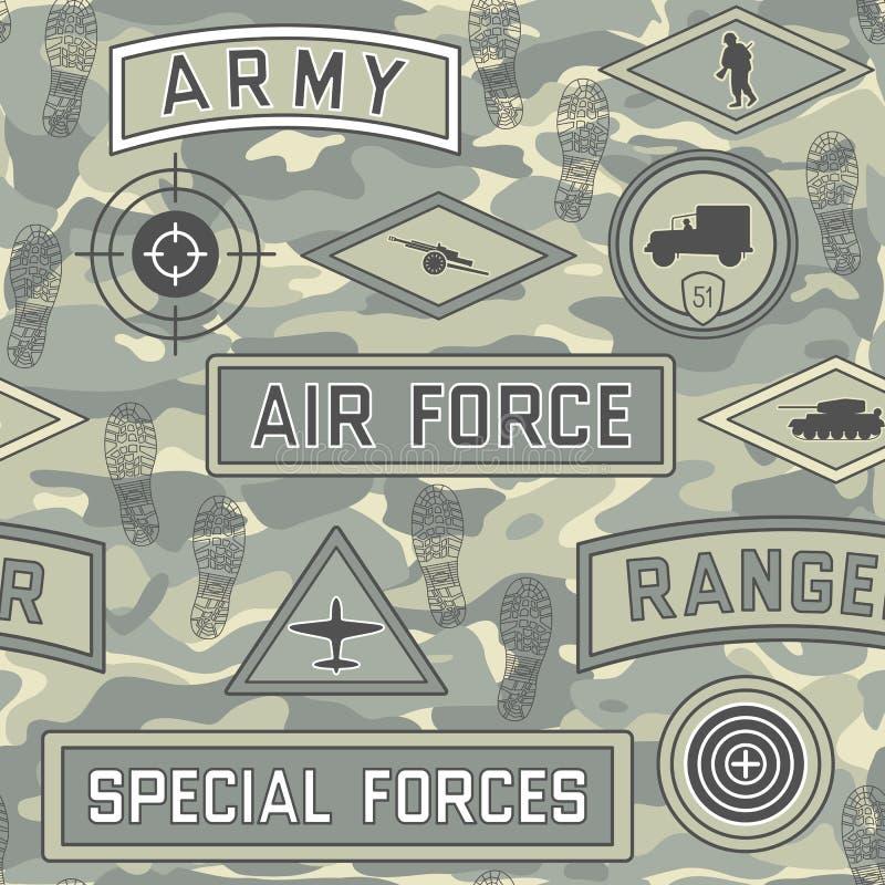 Bezszwowy wojskowego wzór 08 ilustracja wektor