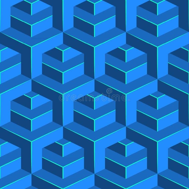 Bezszwowy wolumetryczny wzór Isometric geometryczny tło Glansowany sześcianu ornament royalty ilustracja