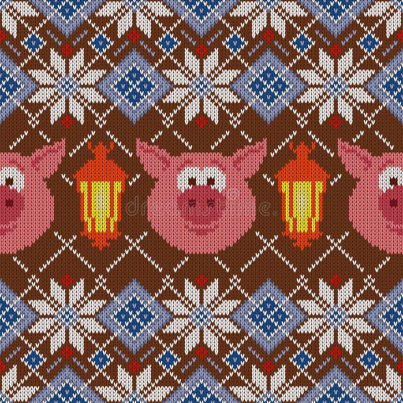 Bezszwowy woolen trykotowy boże narodzenie wzór z świniami i lampionami ilustracja wektor