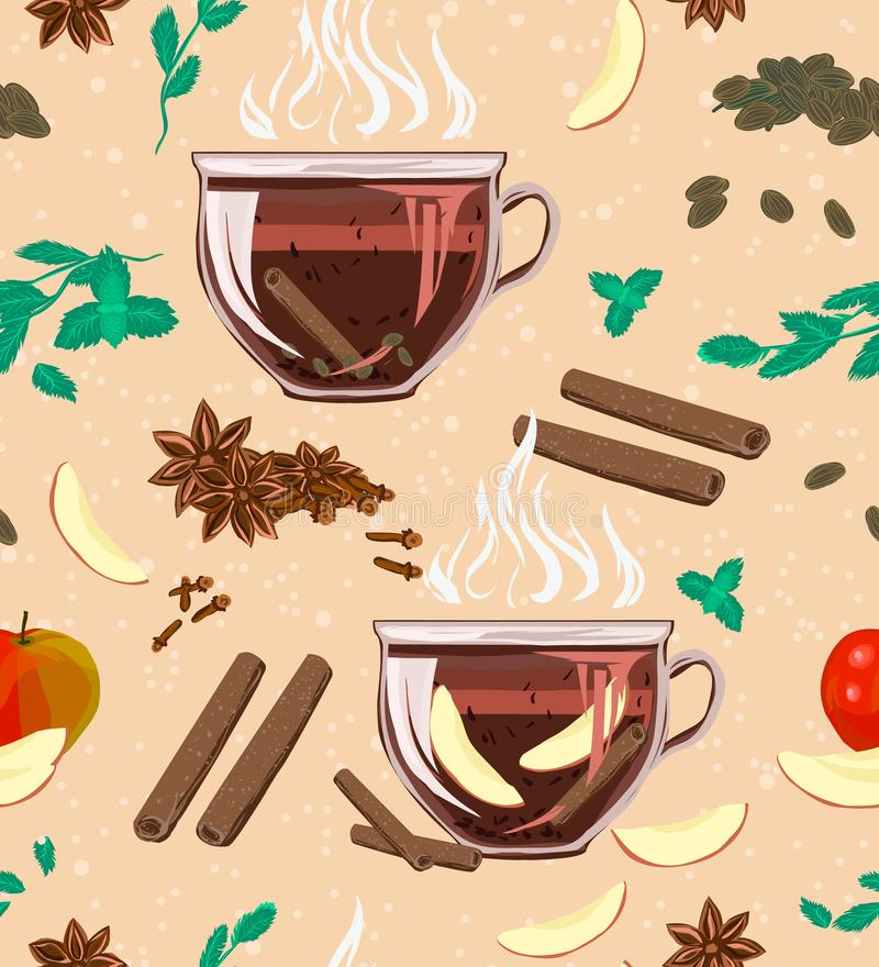 Bezszwowy wygodny wzór z liść czarną herbatą, mennica, cinnamo ilustracja wektor