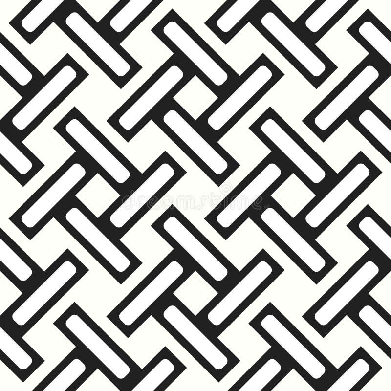 Bezszwowy wyplatający lampas kratownicy wzór nowożytna elegancka tekstura Wielostrzałowy abstrakcjonistyczny tło z przeplatać lin ilustracja wektor