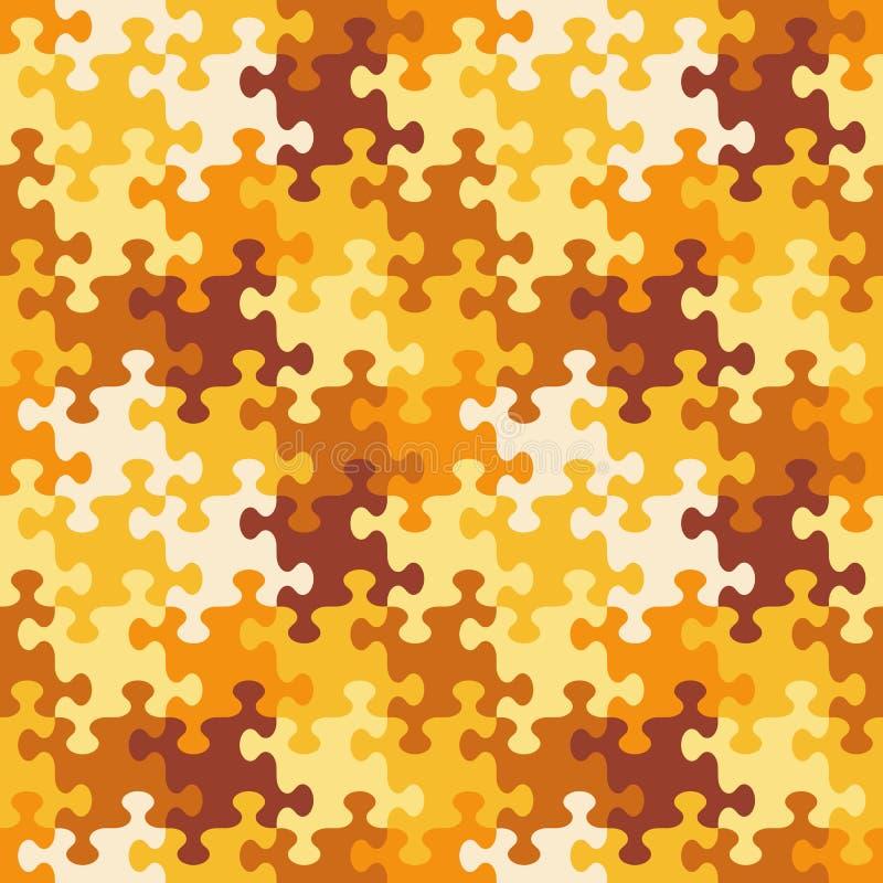 Bezszwowy wyrzynarki łamigłówki wzór jesieni lub kamuflażu kolory ilustracja wektor