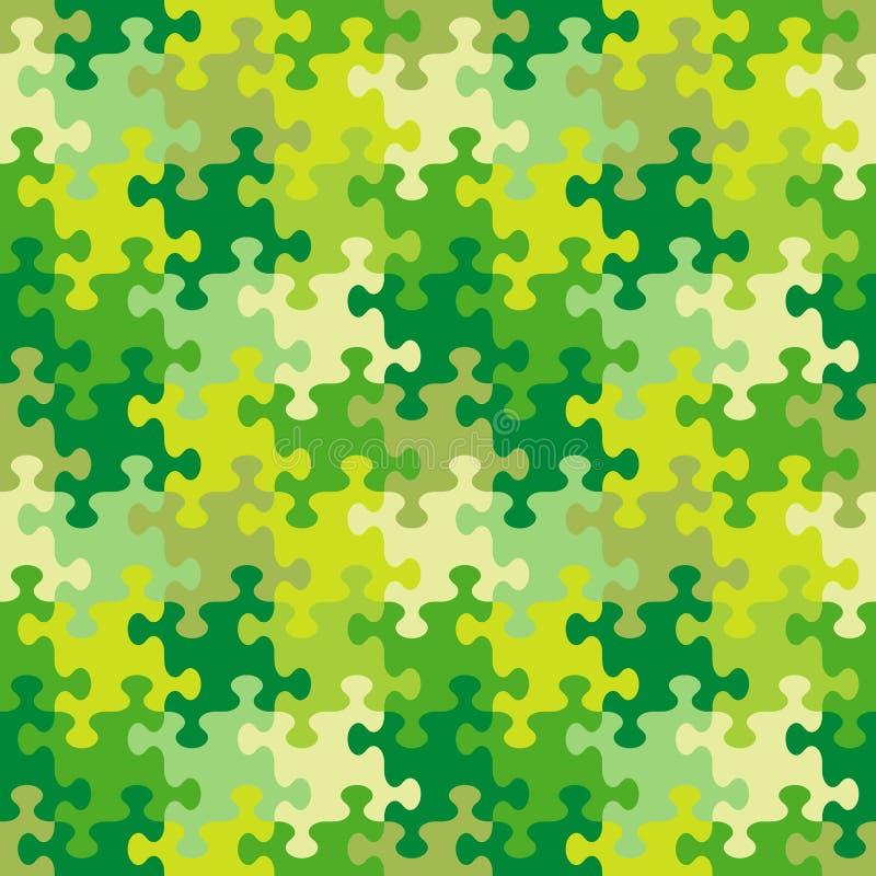 Bezszwowy wyrzynarki łamigłówki wzór wiosny, lata lub kamuflażu kolory, ilustracja wektor
