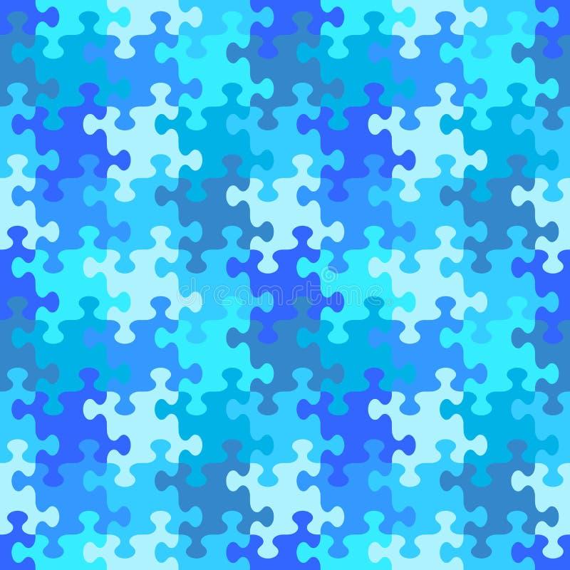 Bezszwowy wyrzynarki łamigłówki wzór woda lub zima błękitni kolory royalty ilustracja