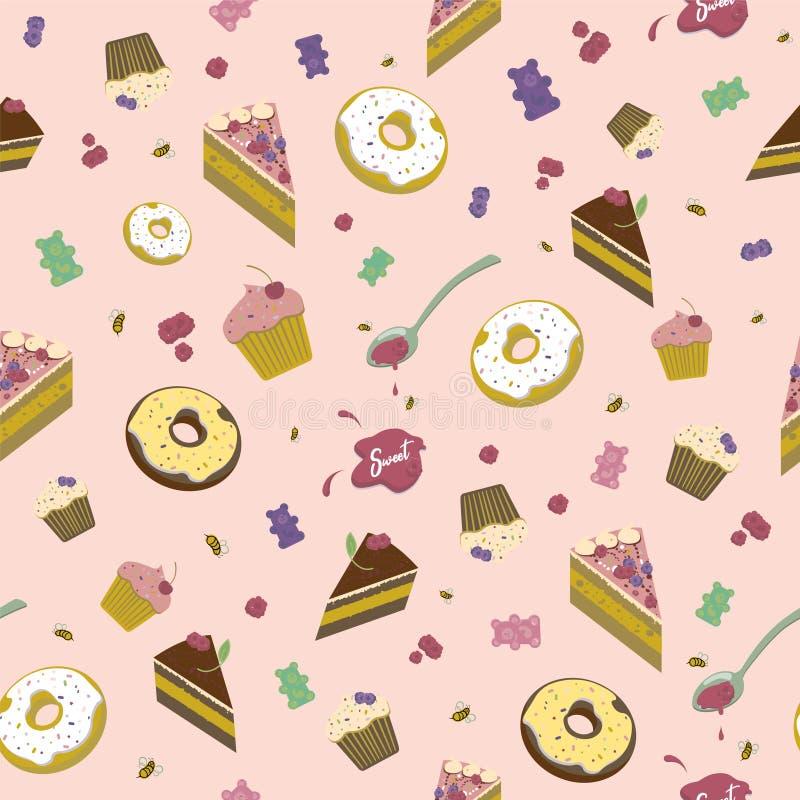 Bezszwowy wzór cukierki, donuts, torty i marmoladowy na różowym tle, ilustracja wektor