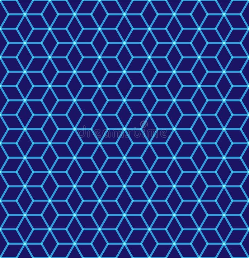 Bezszwowy wzór heksagonalny neonowy siatkarstwo Świecące cząsteczki struktura futurystyczna Geometryczny, nowożytny, technologia  royalty ilustracja