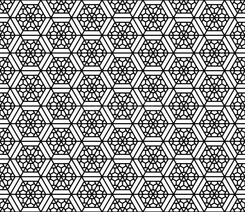 Bezszwowy wzór opierający się na Japońskim geometrycznym ornamencie Zaokrągleni kąty ilustracji