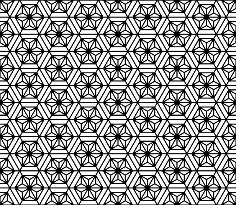 Bezszwowy wzór opierający się na Japońskim geometrycznym ornamencie Zaokrągleni kąty ilustracja wektor